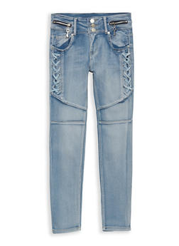 Girls 7-16 Light Wash Lace Up Jeans - 1629063400095