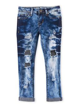 Girls 7-16 VIP Medium Acid Wash Distressed Jeans - 1629065300051
