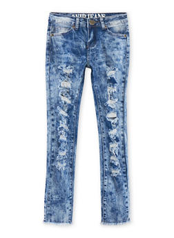 Girls 7-16 VIP Distressed Acid Wash Jeans - 1629065300052