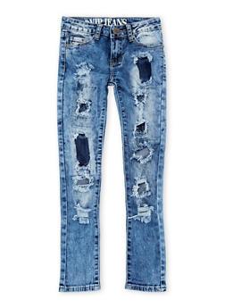 Girls 7-16 VIP Rip and Repair Acid Wash Jeans - 1629065300054
