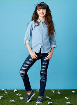 Girls 7-16 VIP Dark Wash Frayed Jeans - 1629065300056