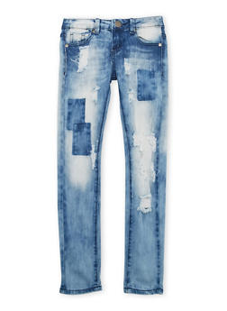 Girls 7-16 VIP Distressed Skinny Jeans with Patches - 1629065300062