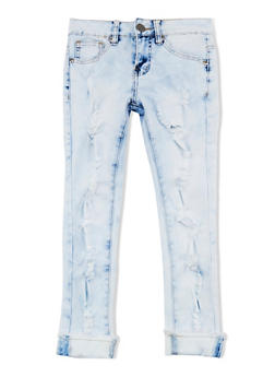 Girls 7-16 VIP Destruction Cuffed Skinny Jeans - 1629065300070