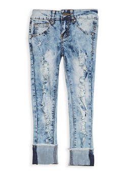 Girls 7-16 VIP Acid Wash Ripped Jeans - 1629065300073
