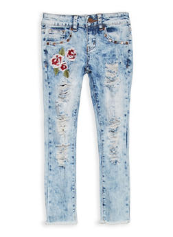 Girls 7-16 VIP Embroidered Destruction Skinny Jeans - 1629065300078