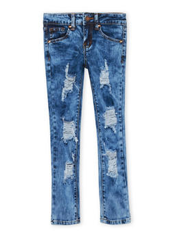 Girls 7-16 VIP Acid Wash Distressed Jeans - 1629065300081