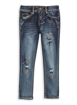 Girls 7-16 VIP Studded Distressed Jeans - 1629065300082