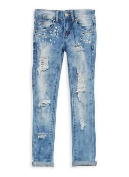 Girls 7-16 VIP Destruction Jeans with Rhinestones - 1629065300083