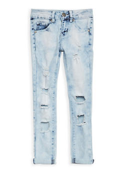 Girls 7-16 VIP Destroyed Skinny Jeans - 1629065300087