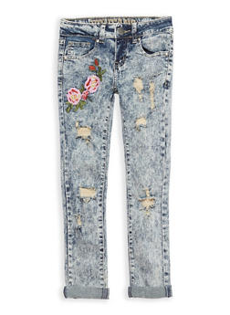 Girls 7-16 VIP Acid Wash Floral Embroidered Skinny Jeans - 1629065300094