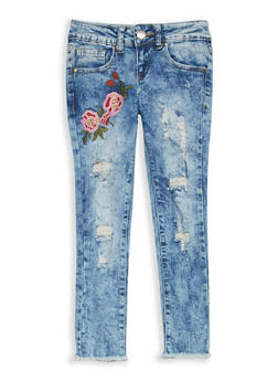 Girls 7-16 VIP Embroidered Destruction Skinny Jeans - 1629065300095