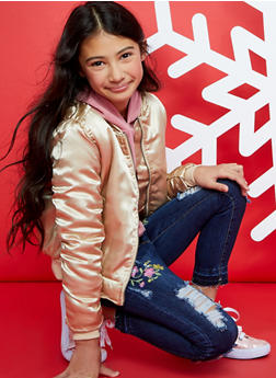 Girls 7-16 VIP Embroidered Distressed Jeans - 1629065300096