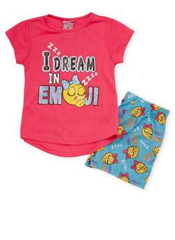Girls 4-6x I Dream In Emoji Graphic Pajama Set - 1630054730001