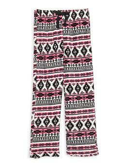 Girls 4-14 Printed Fleece Pajama Pants - BLACK - 1630054730002