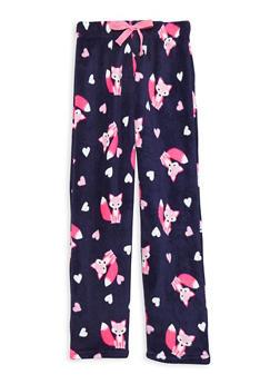 Girls 4-14 Printed Fleece Pajama Pants - NAVY - 1630054730002