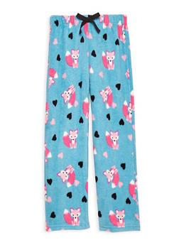 Girls 4-14 Printed Fleece Pajama Pants - TURQUOISE - 1630054730002