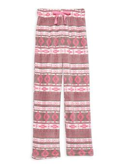 Girls 4-14 Printed Fleece Pajama Pants - PINK - 1630054730002