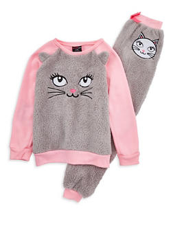 Girls 7-16 Fuzzy Cat Pajama Set - 1630054730004