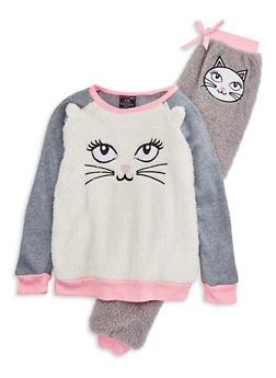 Girls 7-16 Fuzzy Cat Pajama Set - PINK - 1630054730004