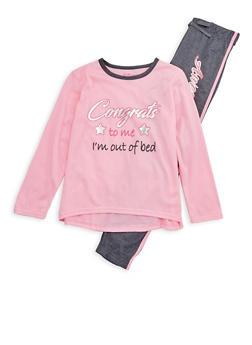Girls 7-16 Graphic Print Pajama Set - PINK - 1630054730007