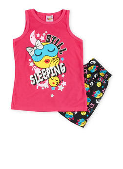 Girls 7-16 Graphic Tank Top and Printed Shorts Sleepwear Set - BLACK - 1630054730010