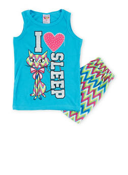 Girls 7-16 Graphic Tank Top and Printed Shorts Sleepwear Set - TURQUOISE - 1630054730010
