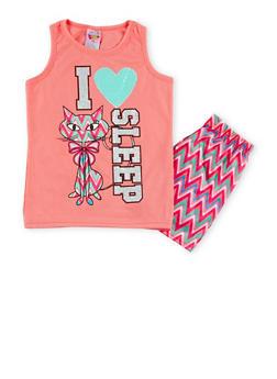 Girls 7-16 Graphic Tank Top and Printed Shorts Sleepwear Set - PINK - 1630054730010