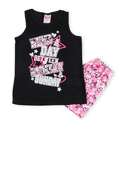 Girls 7-16 Graphic Pajama Tank Top and Shorts Set - BLACK - 1630054730011