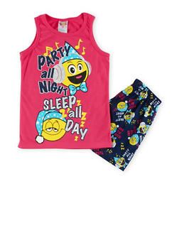Girls 7-16 Graphic Pajama Tank Top and Shorts Set - PINK - 1630054730011