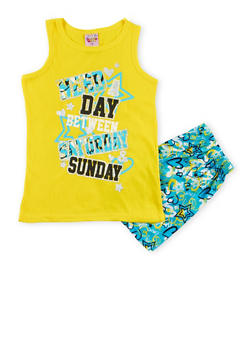 Girls 7-16 Graphic Pajama Tank Top and Shorts Set - YELLOW - 1630054730011