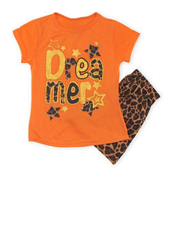 Girls 7-16 Leopard Printed Shorts with Dreamer Graphic Top - 1630054730014