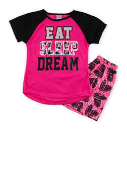 Girls 7-16 Eat Sleep Dream Graphic Pajama Set - 1630054730015