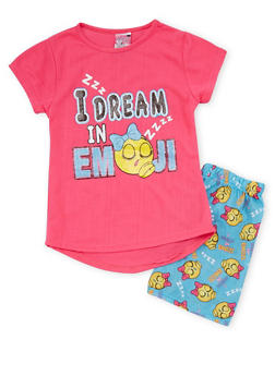 Girls 7-16 I Dream In Emoji Graphic Pajama Set - 1630054730017