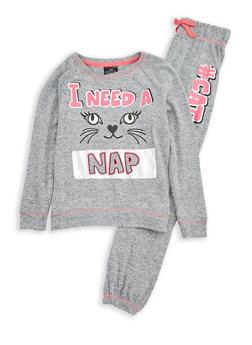 Girls 7-16 Cat Graphic Pajama Set - GREY - 1630054730018