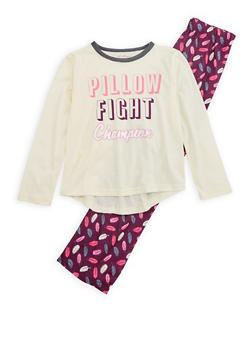 Girls 7-16 Pillow Fight Champion Pajama Set - CREAM - 1630054730020