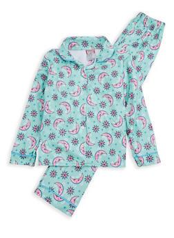 Girls 7-16 Printed Pajama Set - MINT - 1630054730032