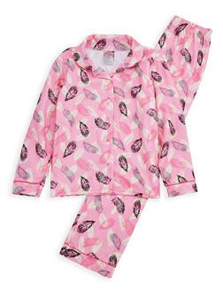 Girls 7-16 Printed Pajama Set - PINK - 1630054730032
