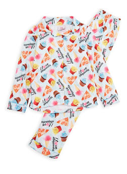 Girls 7-16 Junk Food Graphic Pajama Set - MINT - 1630054730036