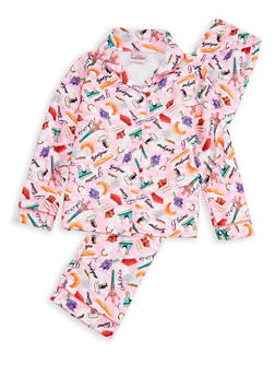 Girls 7-16 Junk Food Graphic Pajama Set - FUCHSIA - 1630054730036