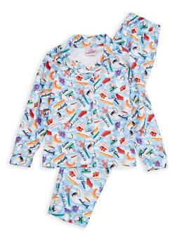 Girls 7-16 Junk Food Graphic Pajama Set - BLUE - 1630054730036