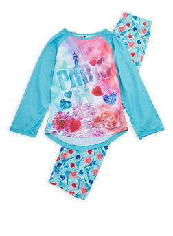 Girls 7-16 Paris Graphic Print Pajama Set - MINT - 1630054730039
