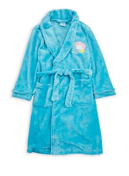 Girls 4-6x Unicorn Graphic Fleece Robe - TURQUOISE - 1630054730046