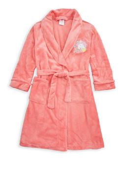 Girls 4-6x Unicorn Graphic Fleece Robe - CORAL - 1630054730046