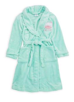 Girls 4-6x Cat Graphic Fleece Robe - MINT - 1630054730048