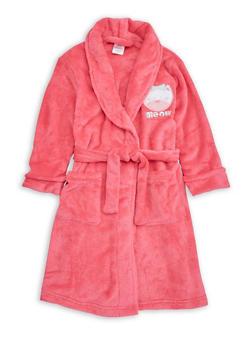 Girls 4-6x Cat Graphic Fleece Robe - PINK - 1630054730048