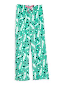 Girls 7-16 Feather Fleece Pajama Pants - MINT - 1630054730051