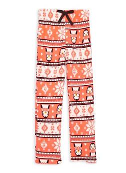 Girls 7-16 Feather Fleece Pajama Pants - CORAL - 1630054730051