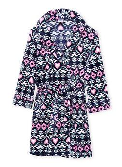 Girls 4-16 Aztec Print Fleece Robe - NAVY - 1630054730052
