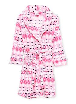 Girls 4-16 Aztec Print Fleece Robe - PINK - 1630054730052