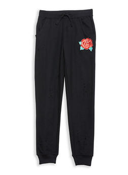 Girls 7-16 Distressed Rose Embroidered Joggers - 1631023130008